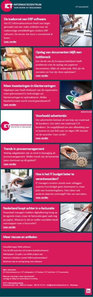 Adverteren ICT nieuwsbrief